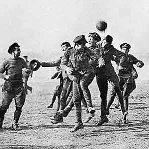 Armistice Day football match at Dale Barracks between german soldiers and Royal Welsh fusiliers to remember the famous Christmas Day truce between germany and Britain-Interesting Facts About Christmas