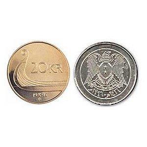 Syrian Pound vs Norway's 20 krone