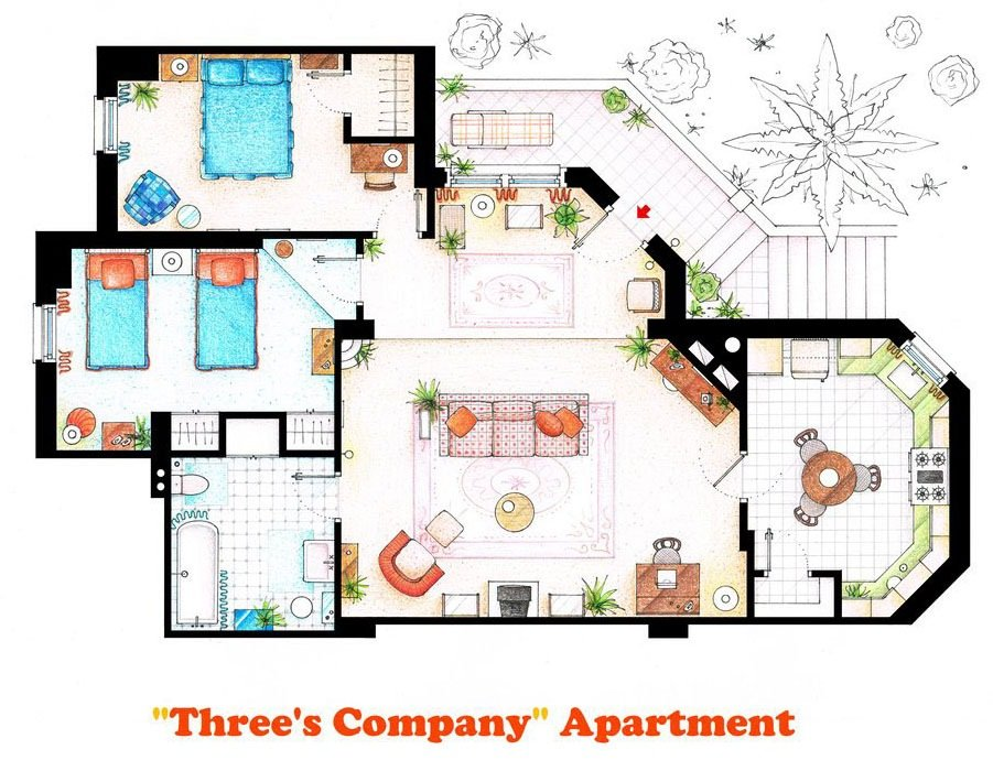 Three's Company - Apartment of Jack Tripper, Janet Wood and Chrissy Snow
