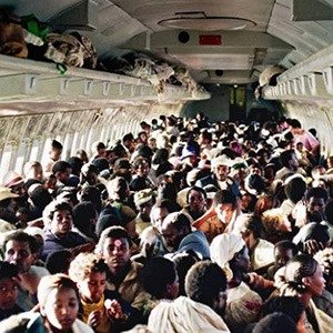 Most passengers on an airplane